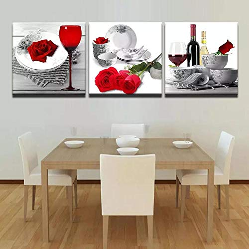 VVSUN Hd Canvas Painting Wall Art Red Rose Wine Poster And Prints Picture Of Abstract Kitchen Room Decor 40x40cm 16x16inchx3 No Frame