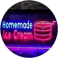 Home Made Ice Cream Illuminated Dual Color LED看板 ネオンプレート サイン 標識 青色 + 赤色 400 x 300mm st6s43-i0518-br