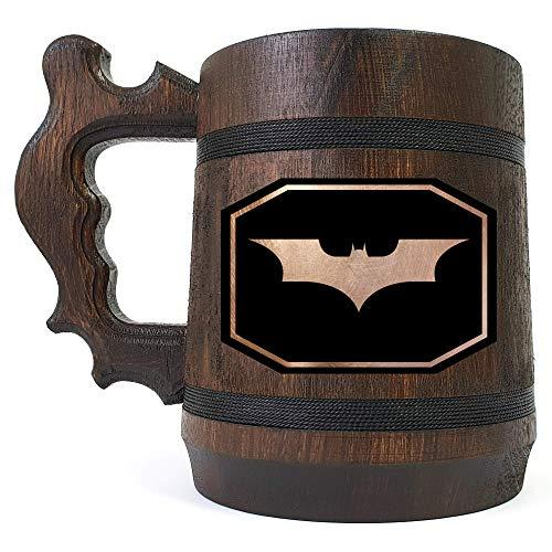 Batman Wooden Beer Mug, Batman Engraved Beer Mug, Custom Beer Mug Gift for Gamer, Groomsmen Gift, Handmade Wooden Mug