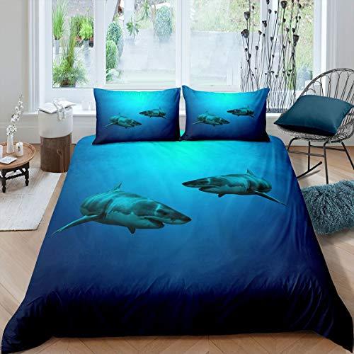 Funda nórdica de tiburón Juego de Cama Ocean Marine 230x220cm Funda de edredón Sea Underwater World para niños, niñas, niños, Criatura, Vida Marina, Azul con 2 Fundas de Almohada