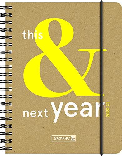 """BRUNNEN 1071830131 """"This&Next"""", Wochenkalender/Schülerkalender 2020/2021, 2 Seiten = 1 Woche , Blattgröße 12 x 16 cm  , A6 , Recyclingleder-Einband"""