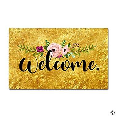 MsMr Doormat Flower Gold Welcome Indoor and Outdoor Floor Mat Non woven Top 18 x30