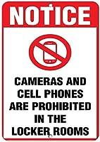 185グレートティンサインアルミロッカールームポリシーカメラや携帯電話を使用しない屋外および屋内サイン壁の装飾12x8インチ