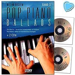 Musikverlag EH3859-9783866262751 Pop Piano Ballads Volume 3 à 40 meilleurs ballads, arrangés pour piano - 2 CD et avec pince pour partitions en forme de cœur colorée