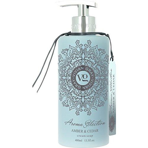 VIVIAN GRAY 2020 Aroma Selection Seifenspender mit Creme Seife Amber & Cedar, hellblau (400 ml)