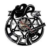 1 Sombrero y revólver Reloj de Pared Insignia del Sheriff Reloj de Disco de Vinilo Mundo Occidental Mural Moderno Ideas de Regalo de Vaquero