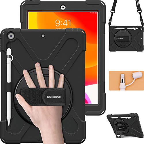 BRAECN iPad 10.2 8th/7th Generation Protective Case, 2020/2019 Case with Pencil Holder, Shoulder Strap, Hand Strap, tripod, storage bag,Sturdy and Durable Case for iPad 10.2 Inch -black