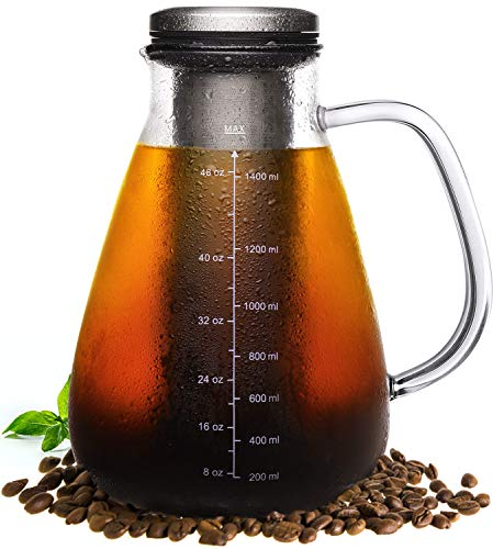 Veken Cold Brew Iced Coffee Maker & Iced Tea Maker-1.5L/51oz Glass Carafe with Removable Double Mesh Stainless Steel Filter, 1.5L
