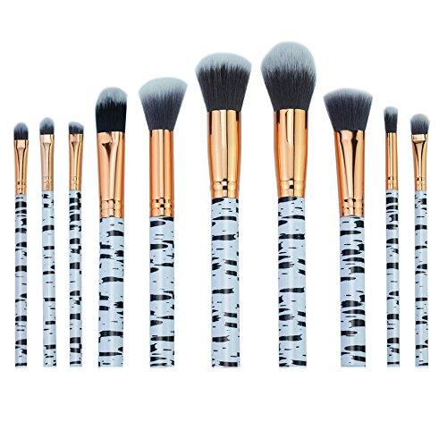 AKAAYUKO 10PCS Makeup Brush set Rayures de zèbre Cosmétique Fondation Beauté Maquillage Brosses -Gris noir