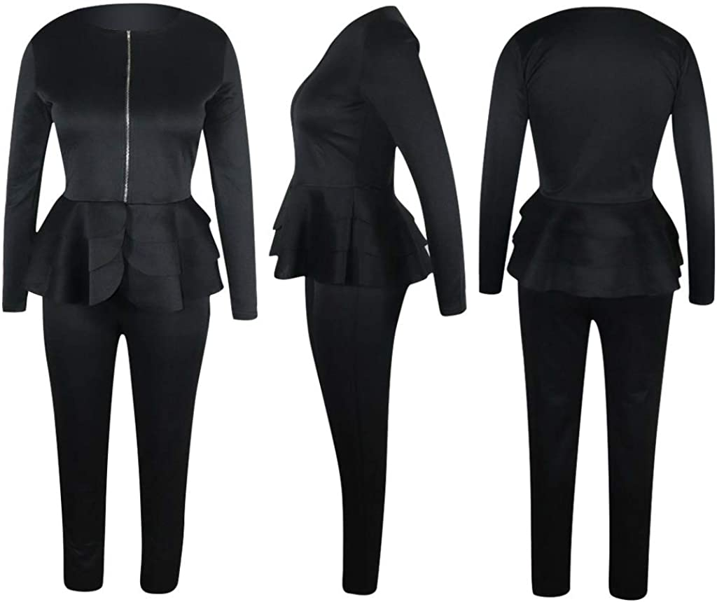 Acelitly Womens 2 Piece Outfits-Long Sleeve V Neck Zipper Ruffle Hem Peplum Blazer with Bodycon Long Pants Suits