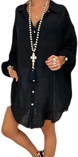 أبيكوك المرأة بلايز فضفاضة زائد حجم لون سادة كم طويل زر أعلى بلوزة قمصان