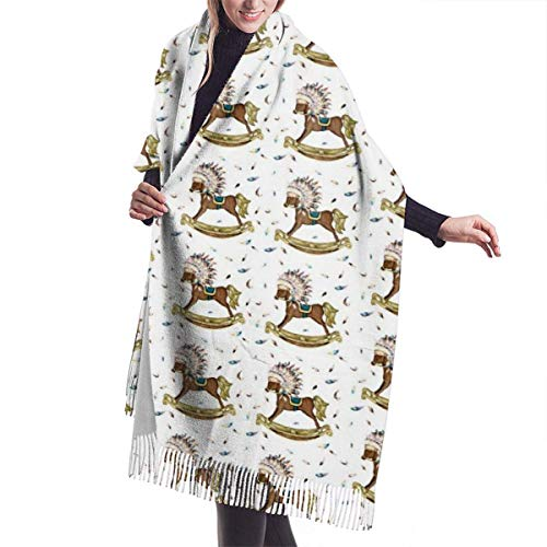 MISS-YAN Boho Rocking Horse Women's Fashion Long Shawl Big Size Winter Warm Lattice Large Scarf