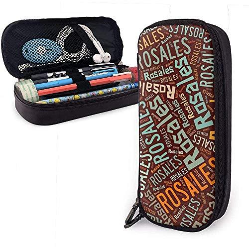 Rosales American Surname High Capacity Leather Pencil Case Pencil Pen Holder Large Storage Pouch Box Organizer School Marker Pen Student Bag