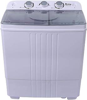 Lavadora portátil y secador de centrifugado, mini lavadora, doble bañera, ciclo de centrifugado con manguera, cubierta sem...