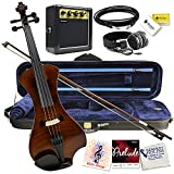 Electric Violin Bunnel NEXT (Clear) Outfit 4/4 Full Size (CARAMEL)- Electric Amp, Carrying Case and Accessories Included - Headphone Jack - Highest Quality with Piezo ceramic pick-up