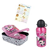 L.O.L. Suprise LOL Lunch-Set Alu-Trinkflasche + Premium Brotdose mit 3 Fächern + Yuhu Bande Namens-Aufkleber Sticker
