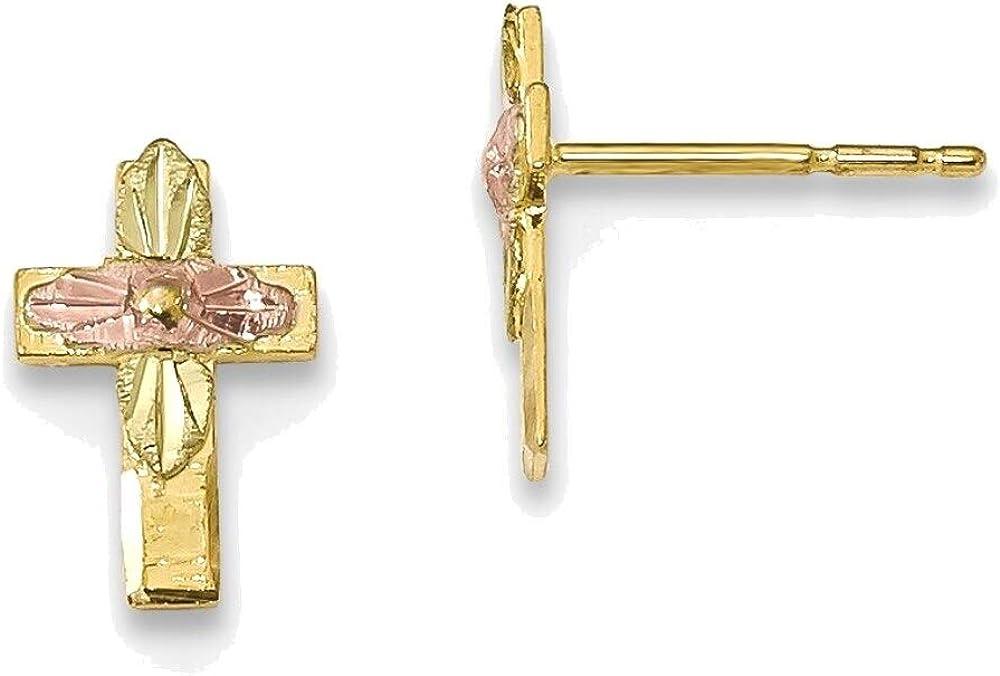 10k Tricolor Black Hills Gold Cross Earrings