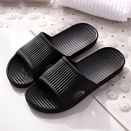 YYFF Zapatillas Flip Flops Sandal,Pareja casa, Tirar, Zapatillas Antideslizantes Cuatro Estaciones-Negro_42-43,Hombre Chanclas Suela