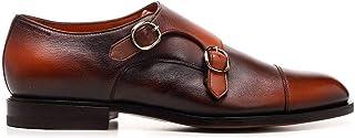 Luxury Fashion | Santoni Men MCCO13973JC7IGTNA43 Brown Leather Monk Strap Shoes | Spring-summer 20