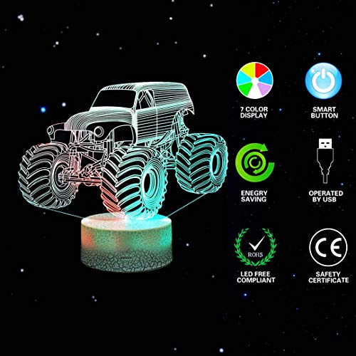 3D Night Lights for Children, Kids Night Lamp, Monster Trucks for Boys, 7 LED Colors Changing Lighting, Car Shape Acrylic Lighting Table Desk Bedroom Decoration, Cool Gifts Ideas Birthday Xmas