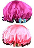 NKTM Children Shower Cap Cute Waterproof Double Layer Kids Cartoon Shower Hat 2 Pack