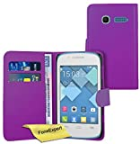 FoneExpert Alcatel One Touch Pop C1 - Etui Housse Coque en Cuir Portefeuille Wallet Case Cover pour Alcatel One Touch Pop C1 + Film de Protection d'Ecran (Pourpre)