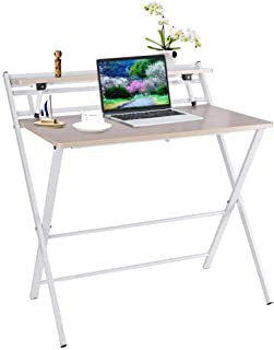 Ninasill Portable Small Folding Desk - 2 Layer Folding Study Desk - Simple Laptop Writing Table for Small Space Home Office,No Assembly Require (80x50x72.5CM, White)