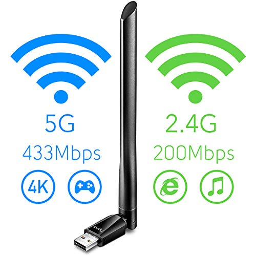 Cudy WU700 AC 650Mbps Adaptador WiFi USB de Banda Dual de Alta Ganancia, Adaptador WiFi de 650 Mbps, Banda Dual de 5 GHz / 2.4 GHz, Antena Externa, Compatible con Windows 7/8 / 8.1/10, Mac OS, Linux.
