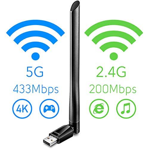 Cudy WU700 AC 650Mbps USB WLAN Stick mit hohem Gewinn, 5 GHz / 2,4 GHz Dualband, 5 dBi Externe Antenne, kompatibel mit Windows 7/8 / 8.1/10, Mac OS, Linux.