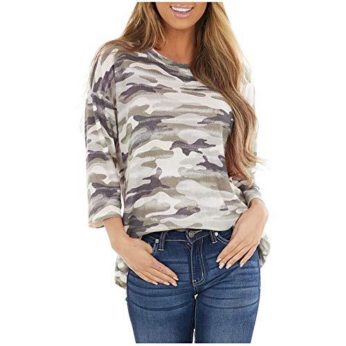 Camiseta de Manga Larga Mujer, 2021 Moda Casual Diario Elegante Cuello Redondo Camiseta Camuflaje Bolsillo Blusas básica Camiseta Sudadera Suelto Suéter Camisas Top Jersey tee