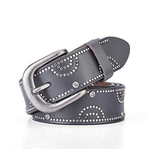JenLn Cinturón con tachas Cinturón Punk con Tachuelas for Hombres y Mujeres con Diamantes de imitación con Incrustaciones de aleación Pin Hebilla de cinturón Cinturón de Jeans 6 Colores Opcionales (Cocina)