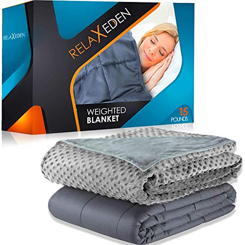 RELAX EDEN Weighted Blanket W/Removable, Washable Duvet Cover| Heavy Glass Micro-Beads| Supreme Sleeping Comfort for Adults | 100% Soft Cotton Build (Gray Blanket + Gray Cover, 60''x80'' | 15lbs)