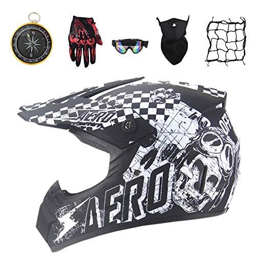 IURIMA Casco integral de moto de cross, casco de moto con guantes, gafas de protección, máscara de protección, red para casco, brújula, juego de 6 piezas (55-56) M