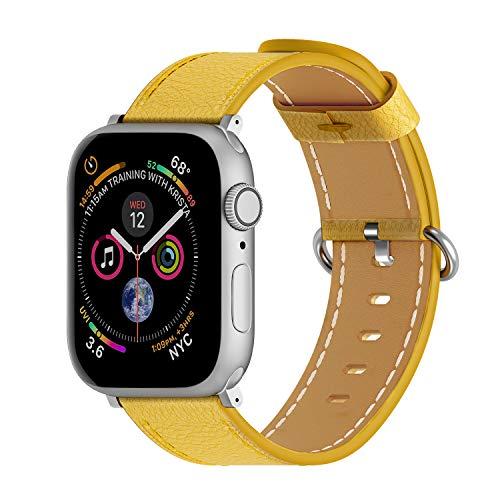 ARTCHE Uhrenarmband Rindsleder für Apple Watch, Vintage Uhrenarmbänder Leder Verstellbarer Armband für Uhr, Uhren Band kompatibel mit Iwatch Serie 1 2 3 4 5 SE 6, für Männer Frauen (42mm/44mm, Gelb)