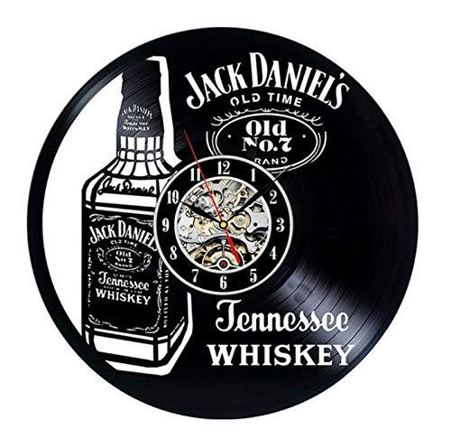 GenericBrands Reloj de Pared de Vinilo Whisky Disco Retro Arte Creativo Regalo Moderno decoración del hogar Reloj 12 Pulgada(Sin Luces)