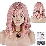 RuiSiファッションかつら36 cmかつら空気前髪波長い髪のかつらレディースかつら (ピンク色)