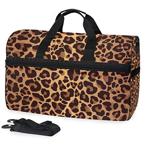 KUWT Animal Leopard Print Travel Duffel Bag for Women Men Sport Gym Bag with Shoes Compartment Overnight Weekend Bag