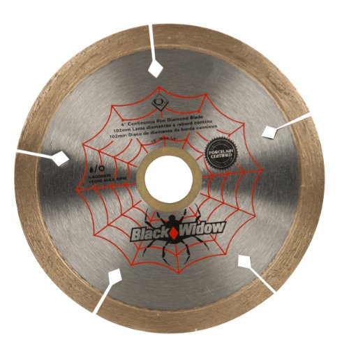 QEP 6-4008BW 4-Inch Black Widow Micro-Segmented Rim Diamond Blade, 5/8-7/8-Inch Arbor, Wet/Dry Cutting, 15000 Maximum RPM