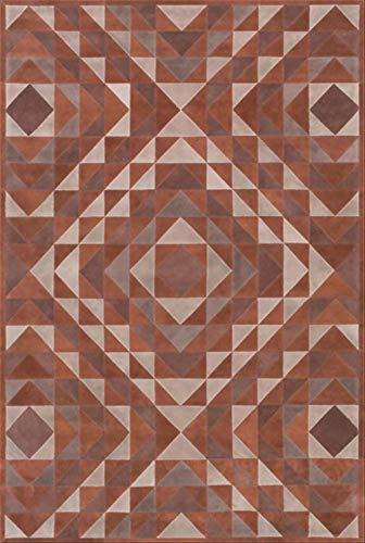 Zenhe fácil de limpiar Manta de área de la vendimia suave Mat Alfombra cubierta marrón sepia triángulo geométrico del diamante Salón Dormitorio Baño Cocina Puerta alfombra del piso alfombra de la este