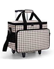 Yarwo Detachable Rolling Sewing Machine Carrying Case, Trolley Tote Bag with Removable Bottom Wooden Board for Most Standard Sewing Machine and Accessories, Gray Spot