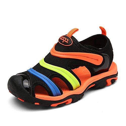 [Leawin] サンダル 子供 スポーツサンダル つま先保護 キッズ 男の子 女の子 ビーチサンダル マジックテープ付き アウトドア 夏靴(ブラック※オレンジ,18.0cm)