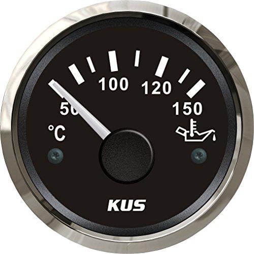 """KUS Öltemperaturanzeige 50-150 ℃ Mit Hintergrundbeleuchtung 12V / 24V 52MM (2 """") (Schwarz)"""