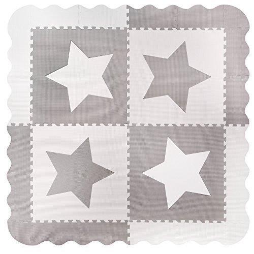 4 grandes azulejos de estrellas de esterilla de juego de bebé de espuma gris que se enganchan - tapetes con bordes. Cada azulejo 60 x 60 cms. Total 1.2m2