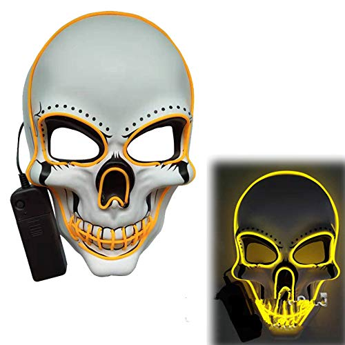 ACHICOO LED Halloween Scary Glow Skeleton Maske Cosplay Party Kostümzubehör Gelb
