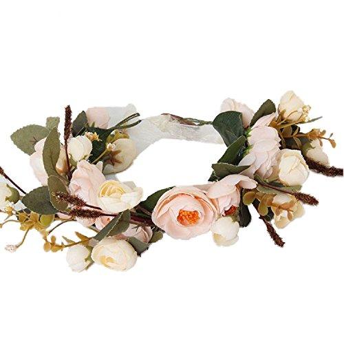 Cereoth Fascia di fiori di corona di fiori per la festa di nozze Bianco rosa arancione