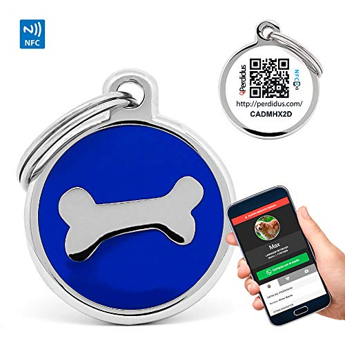 PERDIDUS Placa Identificativa para Perros QR y NFC. Sistema GPS Hueso Azul.