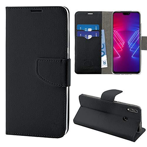 N NEWTOP Cover Compatibile per Huawei Honor View 10 Lite, HQ Lateral Custodia Libro Flip Chiusura Magnetica Portafoglio Simil Pelle Stand (Nera)
