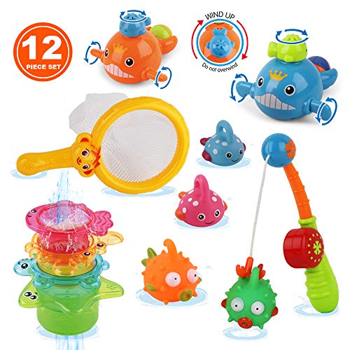 Dwi Dowellin Bath Toys Fishing Game Bathtub Toys Stacking Cups,Clockwork Pool Toys,Water Spray Octopus,Baby Bath Toys Set Tub Toys,Baby Bath Gift for Toddlers,Infant,Girls,Boys,Kids,12pcs