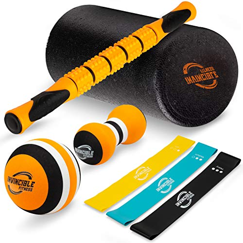 Big Save! Invincible Fitness Foam Roller Set, Includes Muscle Roller Stick, Double Peanut Massage Ba...