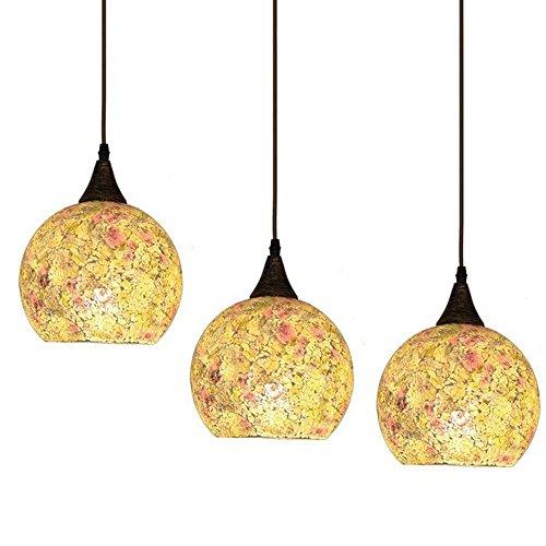 La Méditerranée mosaïques étoile Dining Room Suspensions Suspension Fashion Restaurant Bar Cafe couloir balcon Suspension Lampes (3 de la tête sur le côté de Pink)